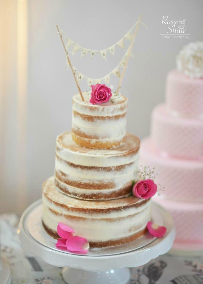 Simple Naked Wedding Cake By Rosie Shaw Bristol