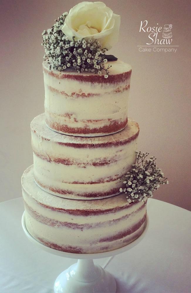 classic naked wedding cake