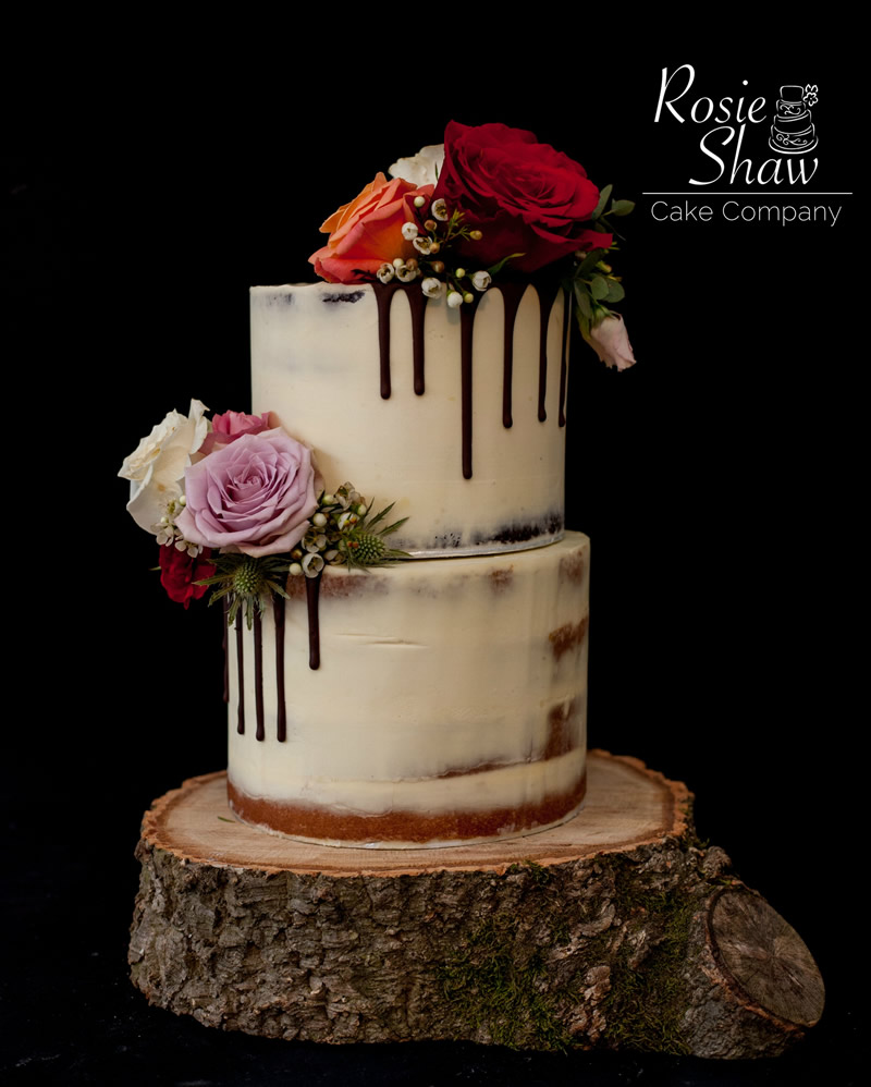 White Chocolate Dripping Semi Nakedwedding Cake