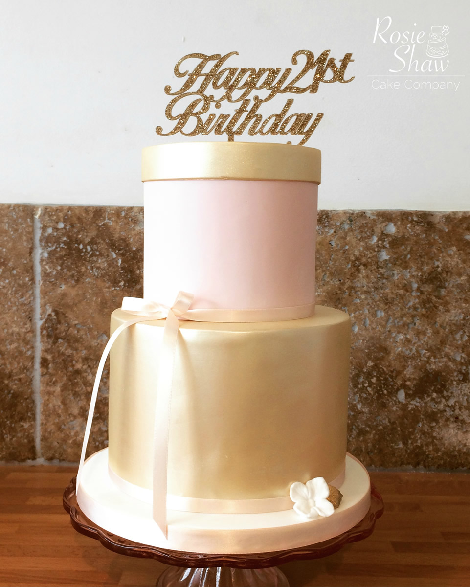 21 Gold And Pink Birthday Cake Rosie Shaw Cake Company Bristol
